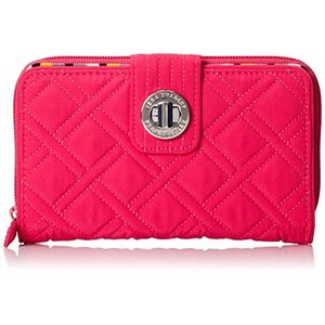 Turnlock Wallet One Size Vera Bradley Women's Microfiber Turnlock Wallet, Fuchsia, One Size|abareusagi-usa