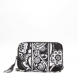 14266 Large Vera bradley Zip-Around Wristlet in Midnight Paisley|abareusagi-usa
