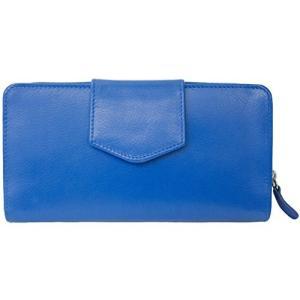 7410 One Size ILI 7410 Cobalt Leather Checkbook Wallet|abareusagi-usa