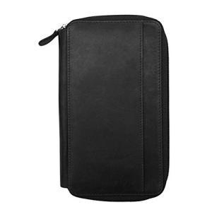 10460857 One Size ili 7407 RFID Leather Zip Around Checkbook Wallet (Black)|abareusagi-usa