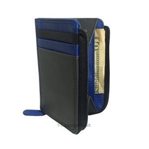 10460893 Small ili New York 7411 Leather Credit Card Holder (Grey/Cobalt/Blk)|abareusagi-usa