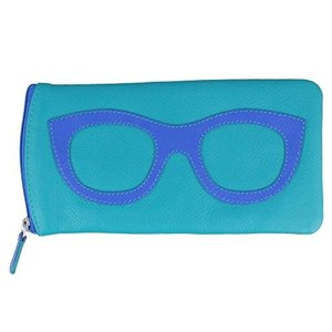 6462-AquaCobalt One Size ili New York 6462 Leather Eyeglass Case (Aqua/Cobalt)|abareusagi-usa