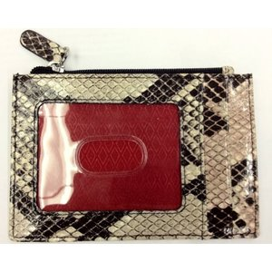 One Size ILI Womens Cowhide Leather Credit Card Wallet with Coin Purse - Italian Python Print|abareusagi-usa