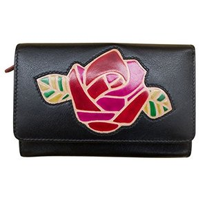 10460802 One Size ili Leather 6048 Rose Wallet with RFID (Black/Red/Fabulous Fuchsia)|abareusagi-usa
