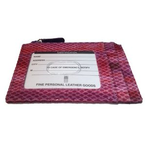 One Size ILI Womens Cowhide Leather Credit Card Wallet w/Coin Purse - Python Print Very Berry|abareusagi-usa