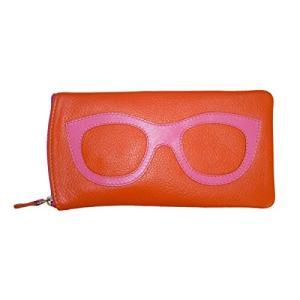 6462 One Size ili New York 6462 Leather Eyeglass Case (Orange/Fuscia)|abareusagi-usa
