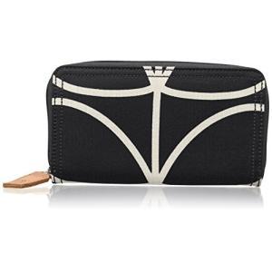 0ETCLIN122 One Size Orla Kiely Women's Etc Giant Linear Stem Big Zip Wallet, Black+Cream, One Size|abareusagi-usa