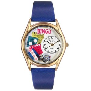 C0430002 Whimsical Watches Women's C0430002 Classic Gold Bingo Royal Blue Leather And Goldtone Watch|abareusagi-usa