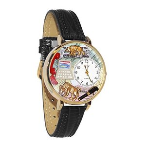 WHIMS-G0610003 Whimsical Watches Unisex G0610003 Stock Broker Black Skin Leather Watch|abareusagi-usa
