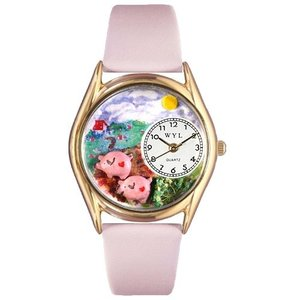 C0110002 Whimsical Watches Kids' C0110002 Classic Gold Pigs Pink Leather And Goldtone Watch|abareusagi-usa