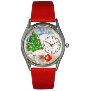 WHIMS-S1220001 Whimsical Watches Women's S1220001 Christmas Tree Red Leather Watch|abareusagi-usa