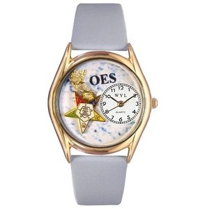 C0710008 Small Whimsical Watches Women's C0710008 Classic Gold Order of the Eastern Star Light Blue Leather And Goldtone Watch|abareusagi-usa