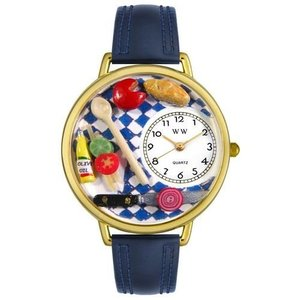 WHIMS-G0310001 Whimsical Watches Unisex G0310001 Gourmet Navy Blue Leather Watch|abareusagi-usa