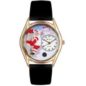 C0820002 Whimsical Watches Kids' C0820002 Classic Gold Hockey Black Leather And Goldtone Watch|abareusagi-usa
