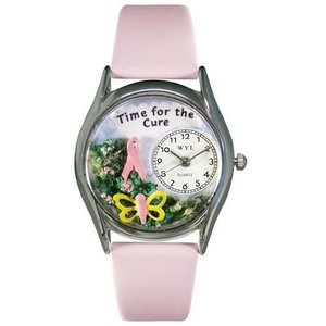 WHIMS-S1110002 Whimsical Watches Women's S1110002 Time For The Cure Pink Leather Watch|abareusagi-usa