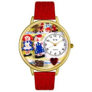 WHIMS-G0220006 Whimsical Watches Women's G0220006 Raggedy Ann and Andy Red Leather Watch|abareusagi-usa