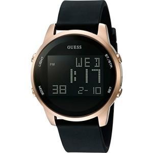 ゲスGUESS Men's Stainless Steel Digital Silicone Watch, Color: Black (Model: U0787G1) abareusagi-usa