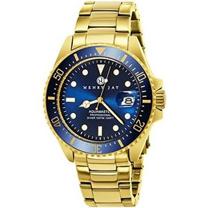 "HJ2005.2 Henry Jay Mens 23K Gold Plated Stainless Steel ""Specialty Aquamaster"" Professional Dive Watch