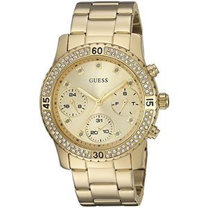 U0851L2 GUESS Women's U0851L2 Sporty Gold-Tone Watch with Gold Dial , Crystal-Accented Bezel and Stainless Steel Pilot Buckle abareusagi-usa