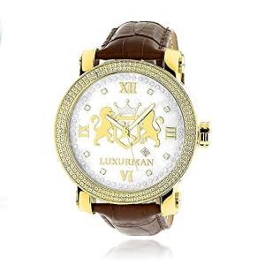 4331789483 Mens Large 18k Yellow Gold Plated Diamond Watch Phantom White MOP Leather Band 0.12ctw by Luxurman|abareusagi-usa