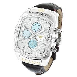 6.40E+11 Large Bubble Watches: LUXURMAN Bullion Diamond Watch for Men w Chronograph and Leather Band 0.18ct|abareusagi-usa