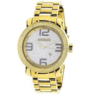 4331789437 LUXURMAN Mens Diamond Watch Yellow Gold Plated 0.12ct|abareusagi-usa