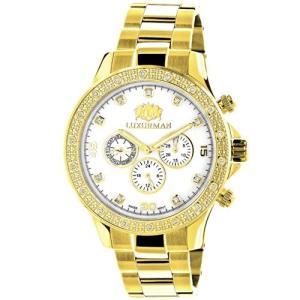 Liberty LUXURMAN Diamond Watches for Men 0.2ct Yellow Gold Plated White MOP Liberty|abareusagi-usa