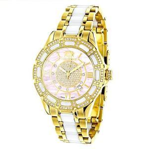 0639738921433 Ladies Diamond Watches 18k Yellow Gold Plated Stainless Steel White Ceramic Watch with Swiss Mvt Pink MOP|abareusagi-usa