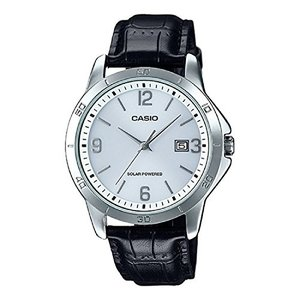 Casio MTP-VS02L-7A Men's Standard Solar Leather Band White Dial Date Watch|abareusagi-usa