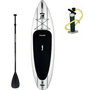 "10'4 Tower Inflatable 10'4"" Stand Up Paddle Board - (6 Inches Thick) - Universal SUP Wide Stance - Premium SUP Bundle (Pump &