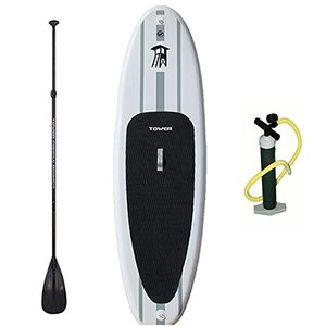 "BD-TWR-ADV-PKG 9'10' Tower Inflatable 9'10"" Stand Up Paddle Board - (6 Inches Thick) - Universal SUP Wide Stance - Premium SUP