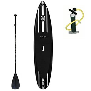 "BD-TWR-IRACE-PKG Tower iRace Inflatable 12'6"" Stand Up Paddle Board - (6 Inches Thick) - Universal SUP Wide Stance - Premium S