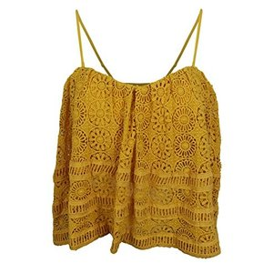 Medium Free People Women's Yellow Floral Lace Cropped Camisole Top, M|abareusagi-usa