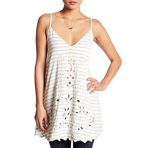 OB509763 Small FREE PEOPLE Seafaring Embroidered Lace-Up Back IVORY TANK TOP Small-$88-NWT|abareusagi-usa