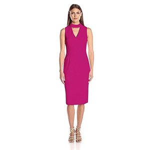 8 Ivanka Trump Women's Fuchsia Pink Plum Sleeveless Dress w/Choke Collar Sz 8|abareusagi-usa
