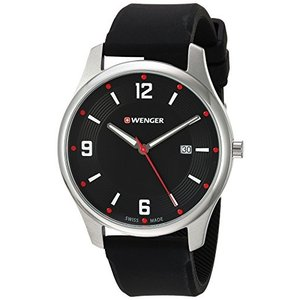 01.1441.109 Wenger Men's 'City Active' Swiss Quartz Stainless Steel and Silicone Casual Watch, Color:Black (Model: 01.1441.109)|abareusagi-usa