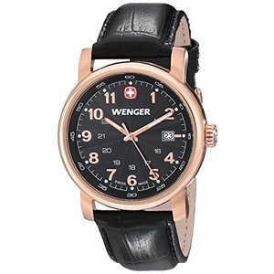 01.1041.108 Wenger Men's 01.1041.108 Urban Classic Gold PVD-Coated Stainless Steel Watch with Black Leather Band|abareusagi-usa