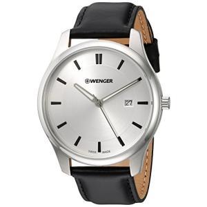 01.1441.102 Wenger Men's City Classic Stainless Steel Swiss-Quartz Watch with Leather Calfskin Strap, Black, 20 (Model: 01.1441.10|abareusagi-usa