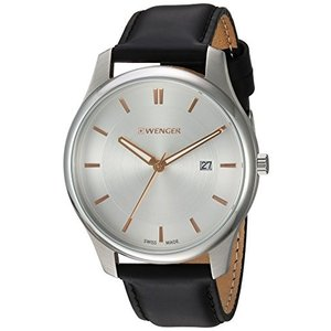 01.1441.103 Wenger Men's City Classic Swiss-Quartz Watch with Leather-Calfskin Strap, Black, 21 (Model: 01.1441.103)|abareusagi-usa