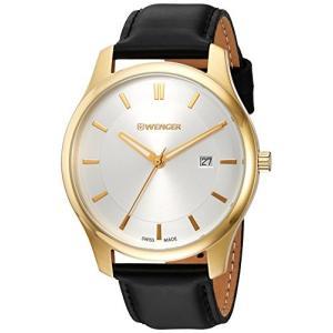 01.1441.106 Wenger Men's City Classic Swiss-Quartz Watch with Leather Calfskin Strap, Black, 20 (Model: 01.1441.106)|abareusagi-usa