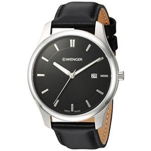 01.1441.101 Wenger Men's City Classic Stainless Steel Swiss-Quartz Watch with Leather Calfskin Strap, Black, 20 (Model: 01.1441.10|abareusagi-usa