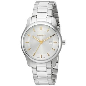 01.1421.105 Wenger Men's City Classic Swiss-Quartz Watch with Stainless-Steel Strap, Silver, 17 (Model: 01.1421.105)|abareusagi-usa