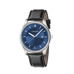 01.1441.118 Wenger Men's City Classic Stainless Steel Swiss-Quartz Watch with Leather Calfskin Strap, Black, 21 (Model: 01.1441.11|abareusagi-usa