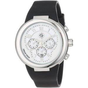32-AW-RBB Philip Stein Unisex 32-AW-RBB Active White and Black Chronograph Rubber Strap Watch|abareusagi-usa