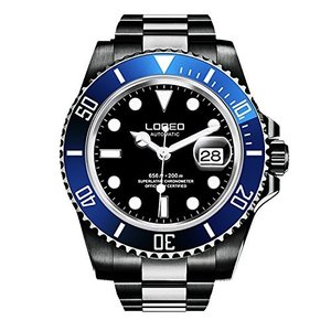 LO0921r LOREO Mens GMT Black Stainless Steel Sapphire Blue Rotating Bezel Black dial Automatic Watch|abareusagi-usa