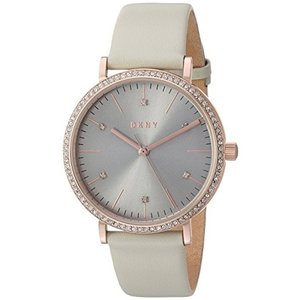 NY2609 DKNY Women's 'Minetta' Quartz Stainless Steel and Leather Casual Watch, Color:Grey (Model: NY2609)|abareusagi-usa