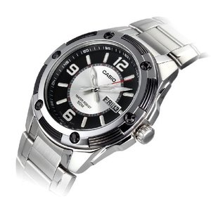 MTP-1327D-1A1 Casio Men's MTP1327D-1A1V Silver Stainless-Steel Quartz Watch with Black Dial|abareusagi-usa