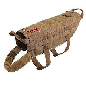 M / 41cm OneTigris Tactical Dog Training Vest Harness with Mesh Padding and Two Handles (Coyote Brown - Upgraded Version, M / 41cm|abareusagi-usa