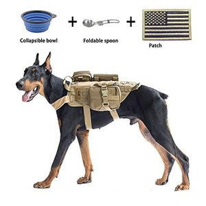 Large EJG Tactical Dog Molle Harness, with 3 Detachable Pouches & Velcro Area, No Pulling Design, Comfy Mesh Padding, Service Dog,|abareusagi-usa
