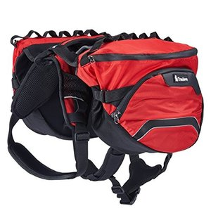 L PETTOM Dog Backpack Saddle Bag Adjustable Pack Reflective Rucksack Carrier for Traveling Walking Camping Hiking (L, Red)|abareusagi-usa